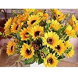 Yinhua Artificial Sunflower Bouquet for Home Decoration Wedding Party Decor Silk Flower (Sunflower, Pack of 2)