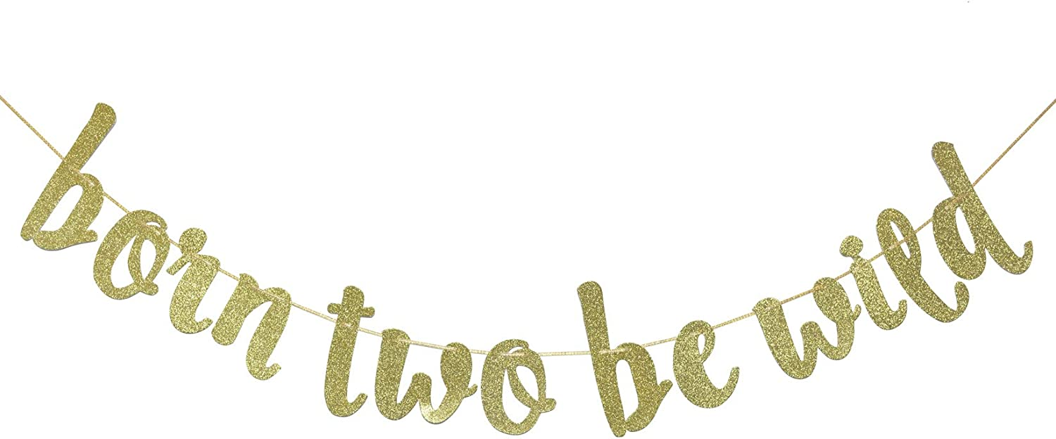 Born Two Be Wild Glitter Banner, Two Years Old Banner, 2nd Birthday Party Decor (Gold)