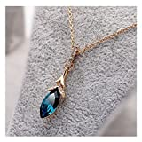TOPSTARONLINE 18k Gold Plated Gorgeous Blue Waterdrop Crystal Necklace