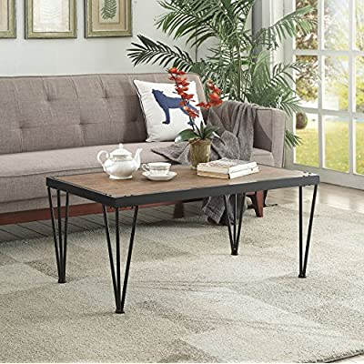 Vintage Brown Black Metal Frame Cocktail Coffee Table with Nailheads - Color: Brown and Black Materials: Wood Veneer, Metal, MDF Features nailheads on sides with metal legs - living-room-furniture, living-room, coffee-tables - 61STWddE8wL. SS400  -