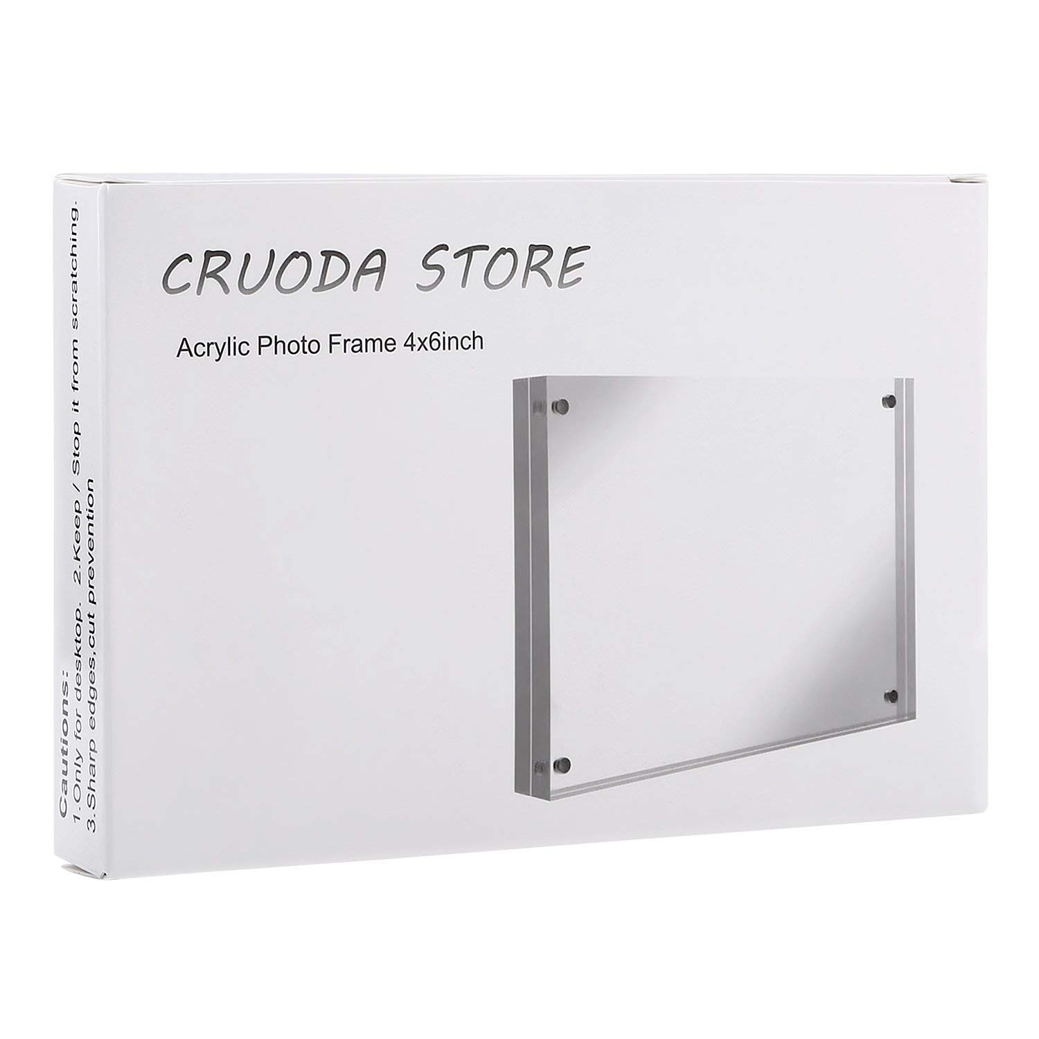 CRUODA Acrylic Photo Frame 4x6, Magnetic Picture Frames, Double Sided Thick Frames, Family Picture Frames (4x6 1pc)