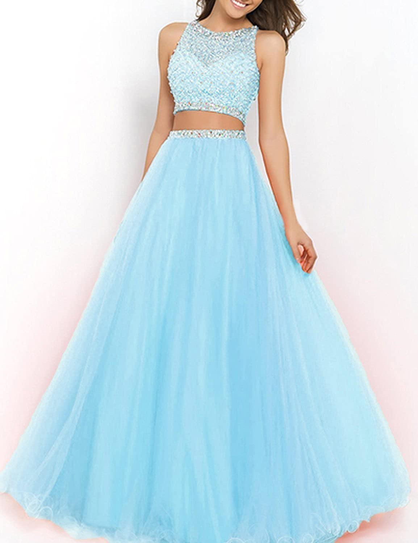 bluee SDRESS Women's Beaded Rhinestones Crewneck Aline 2 Pieces Tulle Prom Dress