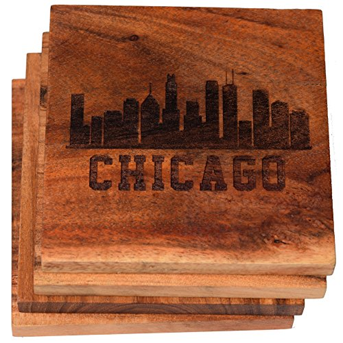 Wood Chicago Bears Engraved Football - Chicago, Illinois Skyline Drink Coasters (Multiple Designs) - Engraved Acacia Wood Design - Set of Four