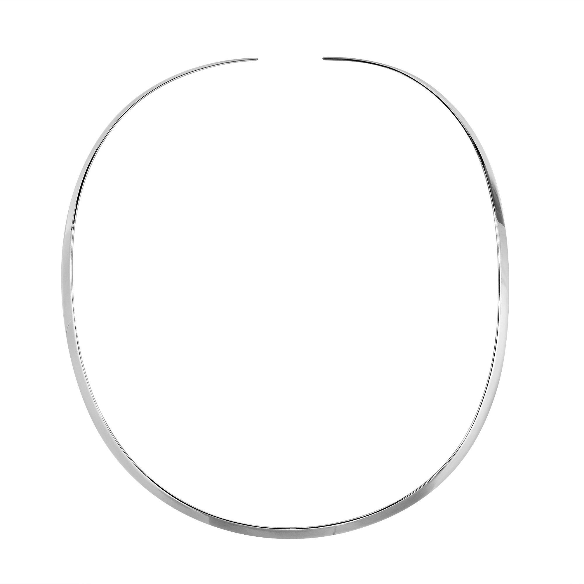 AeraVida Contempo Plain .925 Sterling Silver Choker Necklace