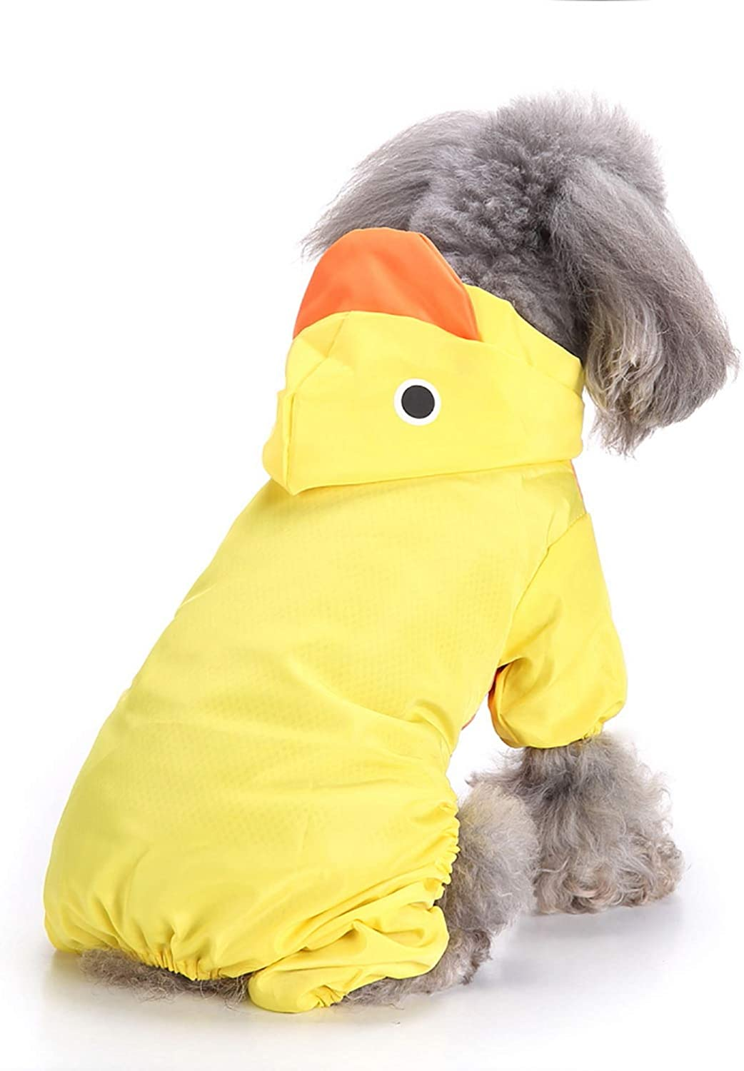 SMALLLEE/_LUCKY/_STORE Cute Cartoon Hooded Raincoat for Small Dogs with Leash D-Ring Puppy Botton Down Rain Jacket Jumpsuit Waterproof Rainwear Clothes