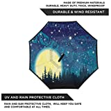 Kgblfd Starry Night Windproof Umbrella Full Moon