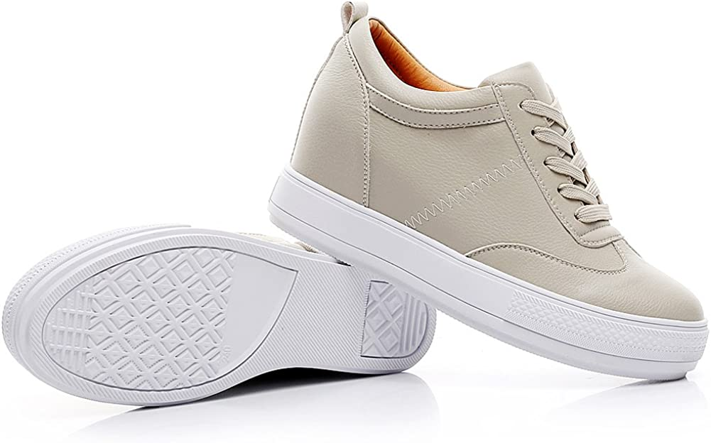 Jamron Womens Soft Faux Leather Hidden Wedge Heel Sneakers Comfy Lace Up Casual Trainers
