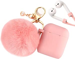 Filoto Case for Airpods, Airpod Case Cover for Apple Airpods 2&1 Charging Case, Cute Air Pods Silicone Protective Accessories Cases/Keychain/Pompom/Strap, Best Gift for Girls and Women, Peach Pink
