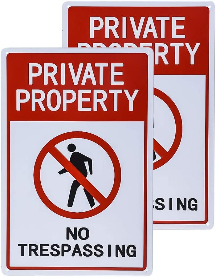 Private Property,12x12 Octagon Shaped Rust Free Metal dojune-2 Pack No Trespassing Sign Easy to Mount UV Printed