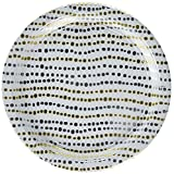 Amscan Modern Dot Round Dinner Paper Plate Disposable Party Supplies , Metallic, 96 Pieces