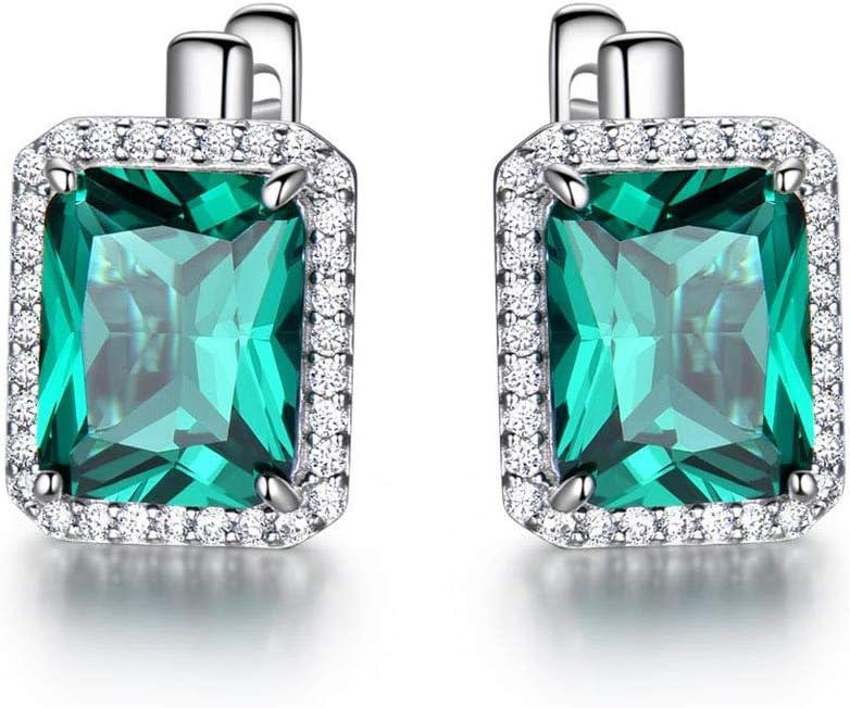 HXML Pendientes Clip De Topacio Azul Cielo, Pendientes De Piedras Preciosas Sólida Plata 925 para Mujer, Joyería Fina,Verde