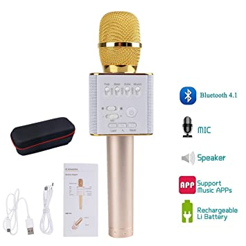 Bluetooth Microphone Karaoke ,Vishm Portable Excellent Sound Quality  Karaoke Wireless Microphone Built-in Loud Speaker with Nice Gift Box for  Home KTV