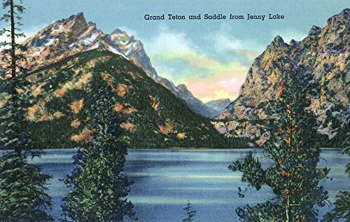 Grand Teton National Park, Wyoming - Jenny Lake View of Grand Teton and Saddle (24x36 SIGNED Print Master Giclee Print w/Certificate of Authenticity - Wall Decor Travel Poster) - Lake Grand Jenny