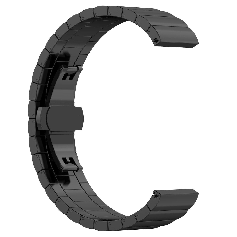 Per Amazfit pace fascette metalliche, Ruentech ricambio Premium in acciaio INOX massiccio Smartwatch bande cinghie di metallo bracciali–scelte di colore & larghezza (22mm) -1beads, Black