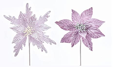 pack of 12 assorted glitter dusted lavender purple poinsettia christmas floral craft picks