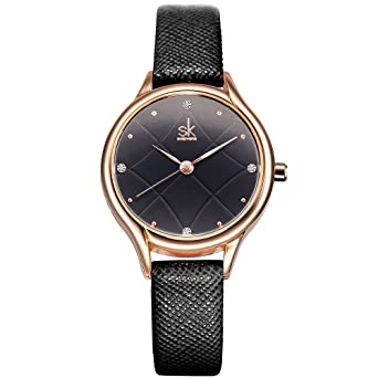 SK Women Watches Leather Band Luxury Quartz Watches Girls Ladies Wristwatch Relogio Feminino (K8013-