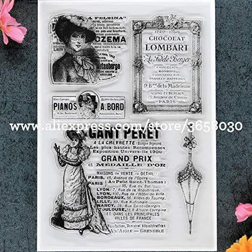 Davitu PARIS Lady Scrapbook DIY photo cards account rubber stamp clear stamp transparent stamp 11x16cm 8101495