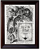 Dictionary Art Print - Alice and Cheshire Cat - Printed on Recycled Vintage Dictionary Paper - 8x11 - Mixed Media Poster on Vintage Dictionary Page by Fresh Prints of CT
