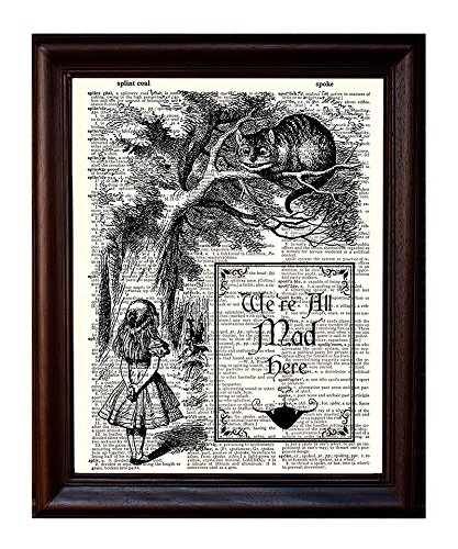 Dictionary Art Print - Alice and Cheshire Cat - Printed on Recycled Vintage Dictionary Paper - 8