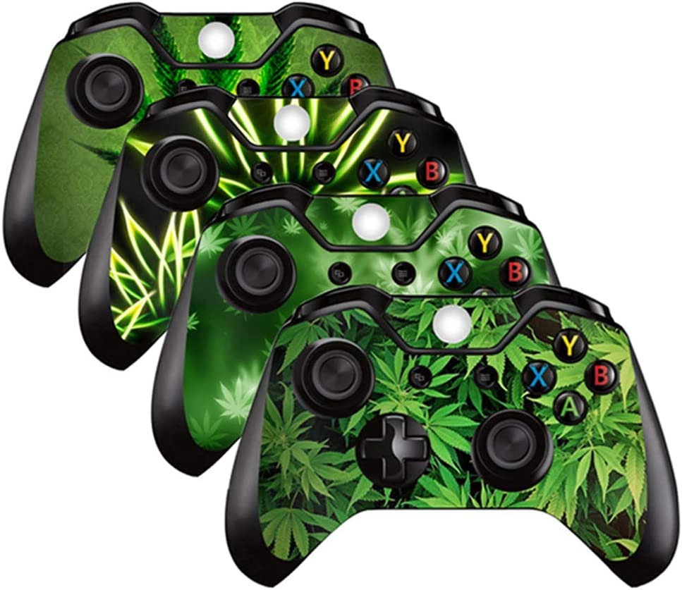 4PCS Vinyl Decal Skin Sticker Protective Cover Skin for Xbox One Controller (Green Leaves)