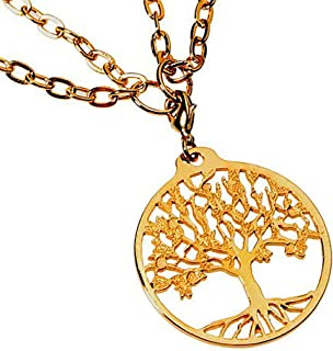 """product image for From War to Peace Tree of Life Gold-Dipped Pendant Necklace on 18-36"""" Gold Plated Cable Chain"""