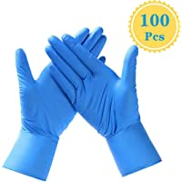 Vinyl Medical Hand Gloves Disposable : Blue Vinyl Safety Gloves for Cooking, Cleaning, Dishwashing, Food Handling, Hair Coloring and Food Service, Allergy Free, Protection Plastic, Large (Box of 100)