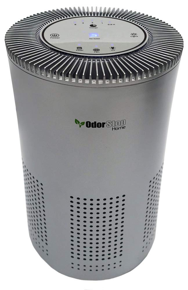 OdorStop HEPA Air Purifier with H13 HEPA Filter, UV Light, Active Carbon, Multi-Speed, Sleep Mode and Timer OSAP4, Silver Gray