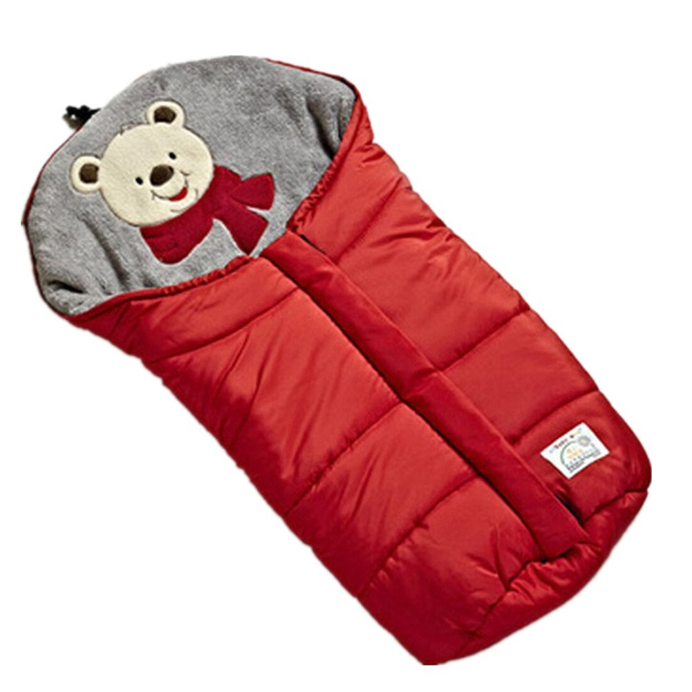 Fairy Baby Universal Baby Stroller Bunting Bag Pushchair Footmuff Sack for 0-6 Months,Red Bear