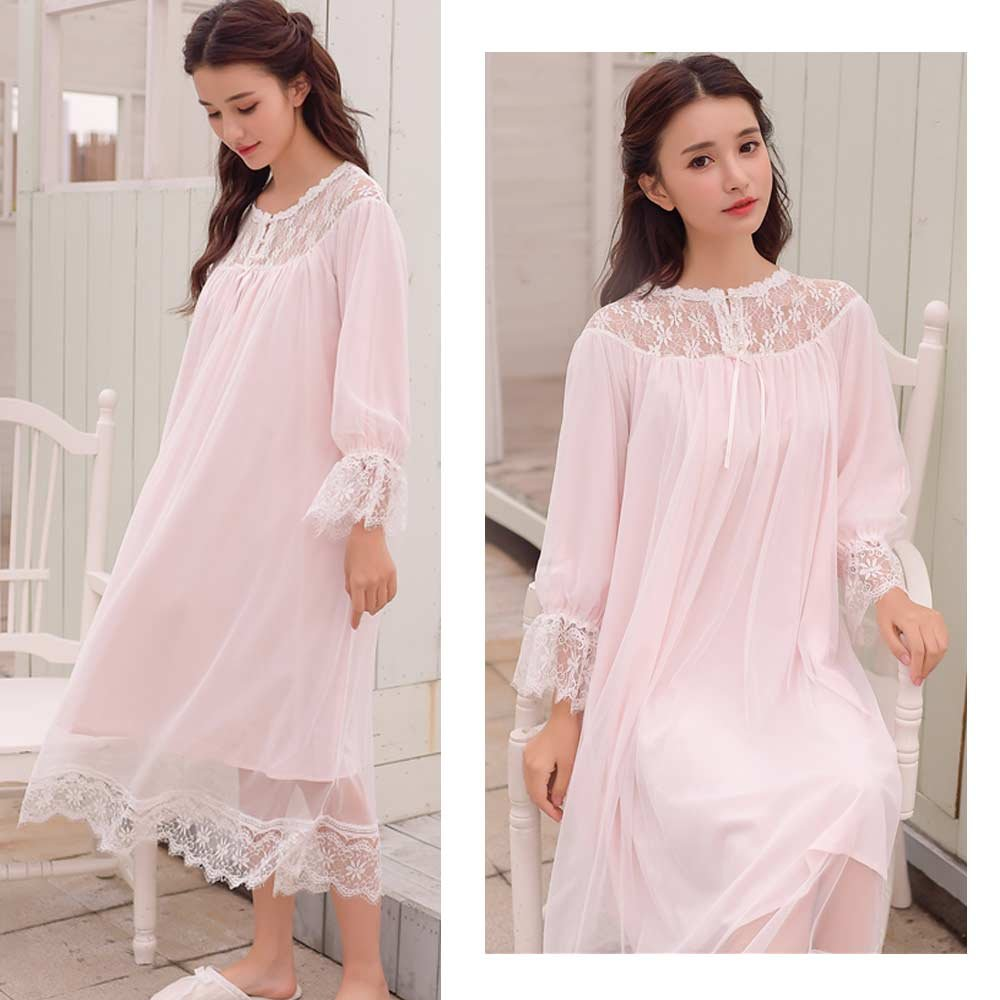 bb2c539f7 Ladies Nightgown Women Vintage Nightdress Romantic Classic Princess Night  Robe Sleepwear (Pink) at Amazon Women s Clothing store