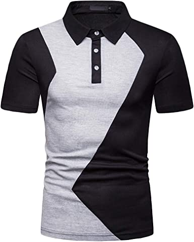 Casual Short Sleeve Shirt for Men Huazi2 Solid Crew Neck Slim Fit Tops Blouse