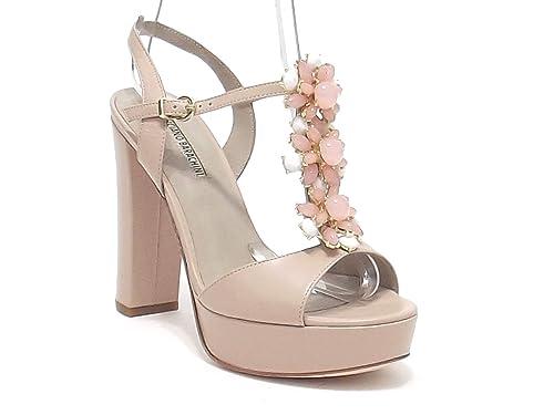 701be91fc134b6 Barachini Scarpe Donna, Modello 4181, Sandalo Gioiello in Pelle con Pietre, Colore  Cipria: Amazon.it: Scarpe e borse