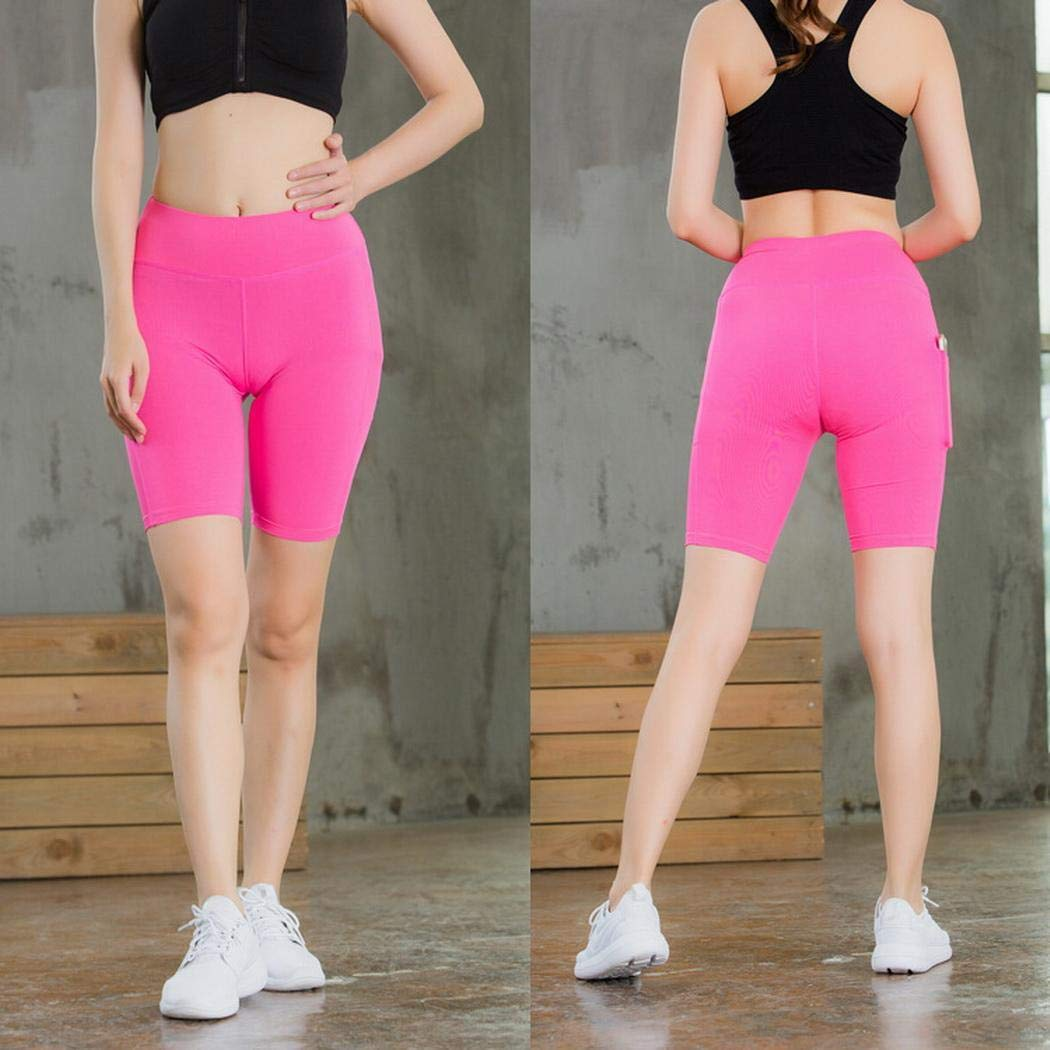 Nessere High Waist Workout Yoga Shorts Tummy Control with Side Pockets Running Athletic