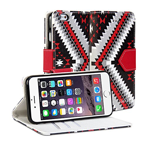 iPhone 6 Hülle, iPhone 6 Brieftasche Hülle , GMYLE Brieftasche Hülle Pfeil (Stammes-Muster) für iPhone 6 (4.7 inch Display) - Ethnic PU Leather Slim Stand Case Cover