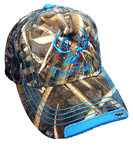 Ladies Camo Cap - Womens Mossy Oak Camo Cap with Blue Camo Cutie Cap Plus Free Decal