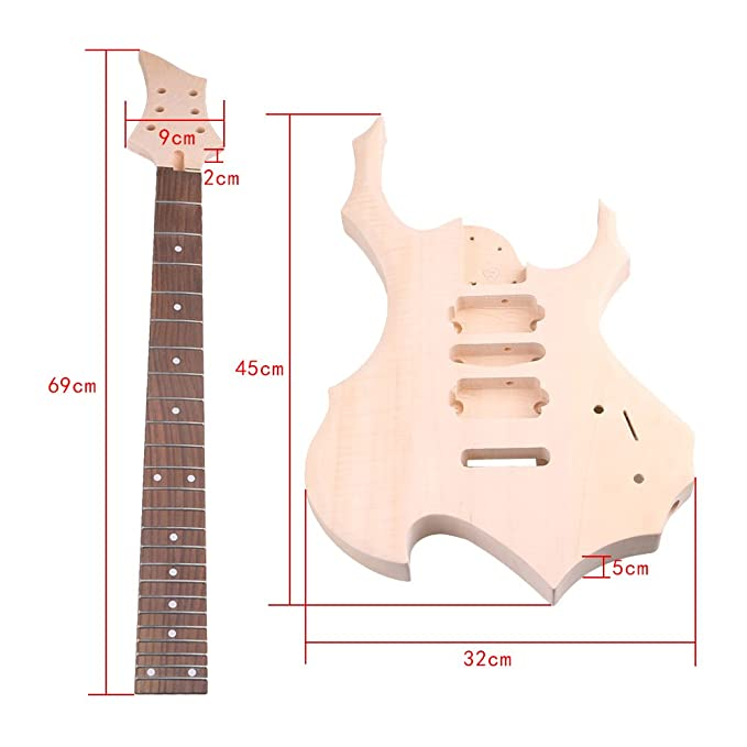 Amazon.com: Lovermusic Maple Basswood DIY HSH Pickup 1Tone 1Volumne Knobs EPS Electric Guitars Builder Kit With All Accessories: Musical Instruments