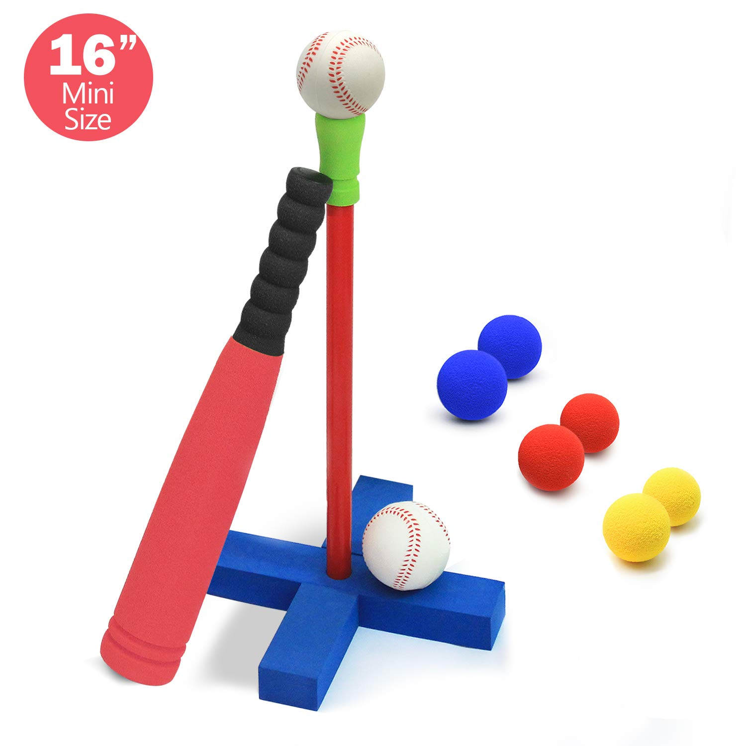 CeleMoon 16-Inch Kids Soft Foam T-Ball Baseball Set Toy, 8 Different Colored Balls, Carry/Organize Bag Included, for Kids Over 1 Years Old (Red) by CeleMoon