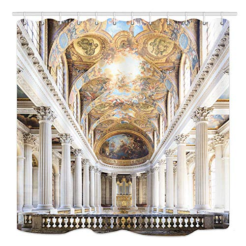 Niomhdos Chateau Shower Curtain, Versailles was A Royal Palace Most in France Photography, Mildew Resistant Waterproof Fabric Bathroom Decor, Bath Curtains Accessories, with Hooks, 69X70 ()