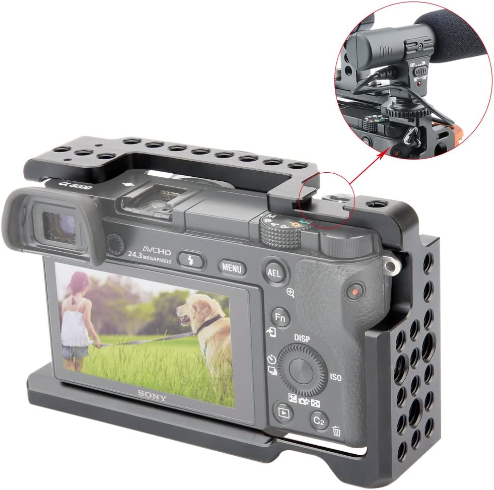 NICEYRIG A6100 A6300 A6400 A6000 Camera Cage with 1//4 Thread and Cold Shoe 083