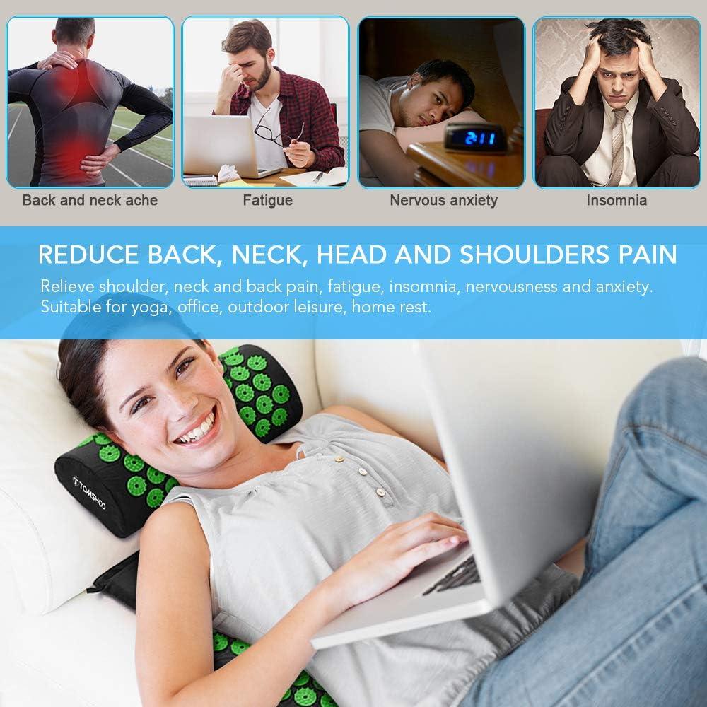 Anelli per Massaggio Cuscino per Digitopressione Palline da Massaggio Massaggio Agopuntura Set TOMSHOO Set Tappetino Agopressione per Massaggi Che alleviano i dolori a Schiena e Collo