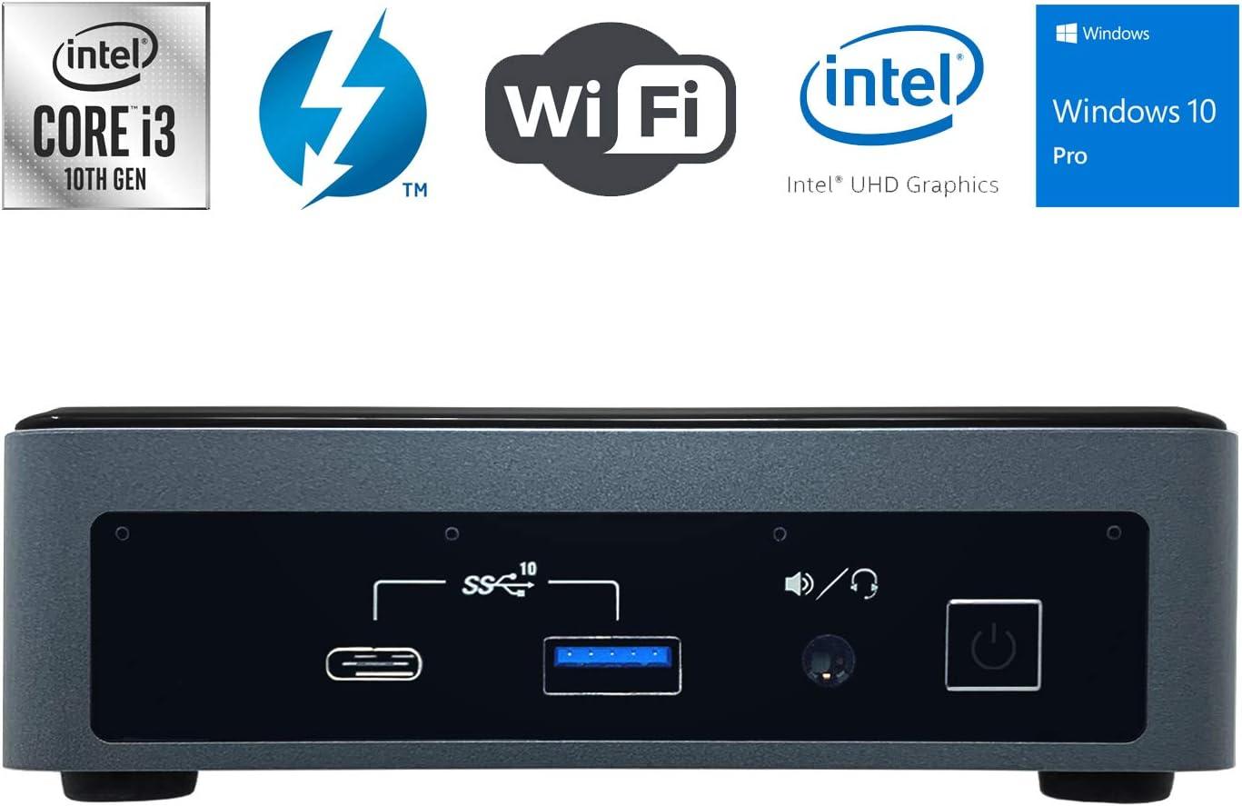 Intel NUC NUC10i3FNK Ultra Small Mini PC/HTPC - 10th Gen Intel Dual-Core i3-10110U up to 4.10 GHz CPU, 8GB DDR4 RAM, 256GB NVMe SSD, Wi-Fi + Bluetooth, Intel UHD Graphics, Windows 10 Professional
