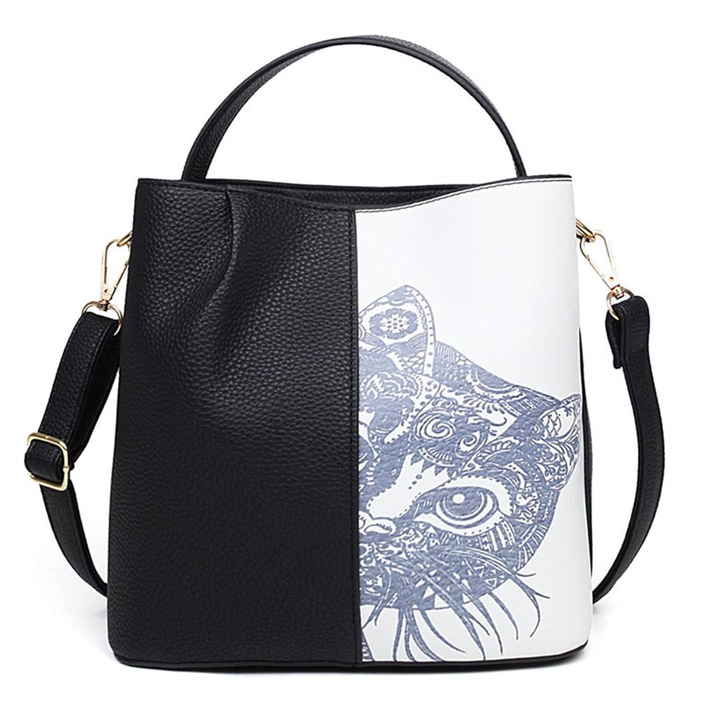 KaiSasi Hit Color Women Fashion Cat Cute Cat Printing Portable Shoulder Bag