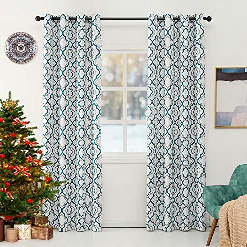 Lofus Blackout Curtains with Moroccan Pattern, Living Room Thermal Insulated, Room Darkening Blackout Grommet Top Curtains for Bed Room, W52 x L84 inches, Teal Blue (2 Panel)