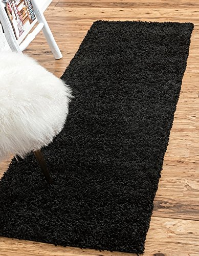 Unique Loom Solid Shag Collection Jet Black 2 x 6 Runner Area Rug (2' 2