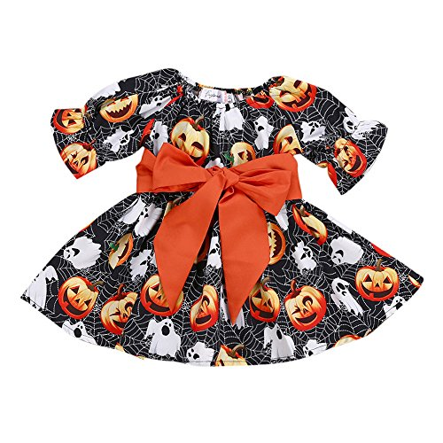 Girls Adorable Pumpkin Ghost Dress Toddler Infant Baby Halloween Costume Outfits (Black, 4T)