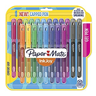 Paper Mate InkJoy Gel Pens, Medium Point (0.7mm) Capped, 20 Count, Assorted Colors (2023018)