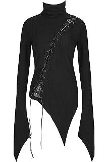 f50e69580816c6 Punk Rave Top Noir asymétrique avec Longues Manches évasées et laçages,  Gothique t-478