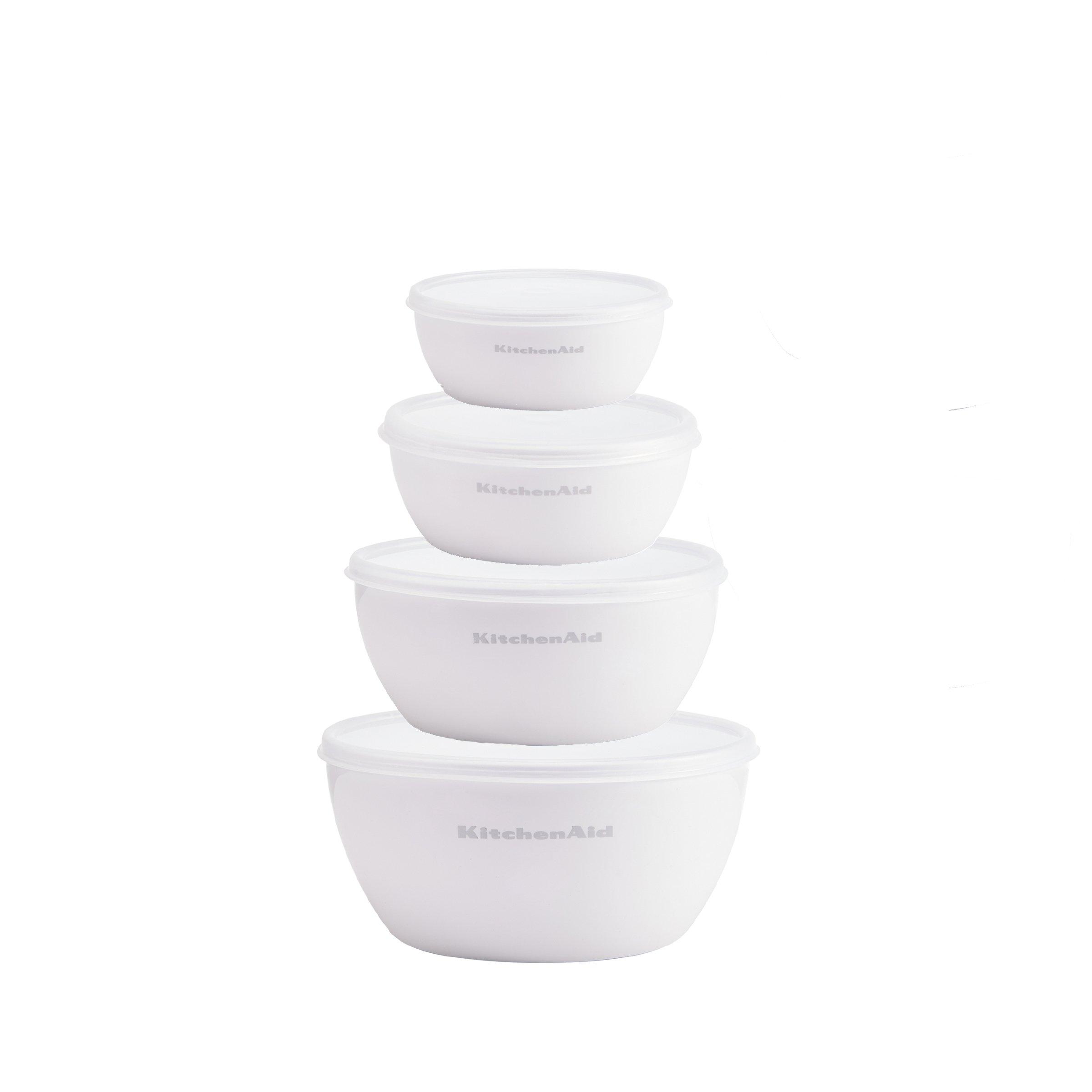 KitchenAid Prep Bowls with Lids, Set of 4, White
