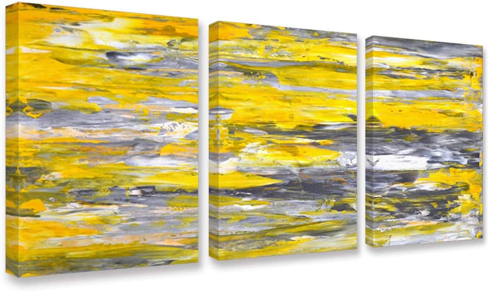 Canvas Wall Art Abstract Yellow Grey Framed Wall Art Paintings for Bedroom Living Room Office Home Decoration Modern Canvas Artwork Wall Decor Ready to Hang 12''x16'', 3 Pieces