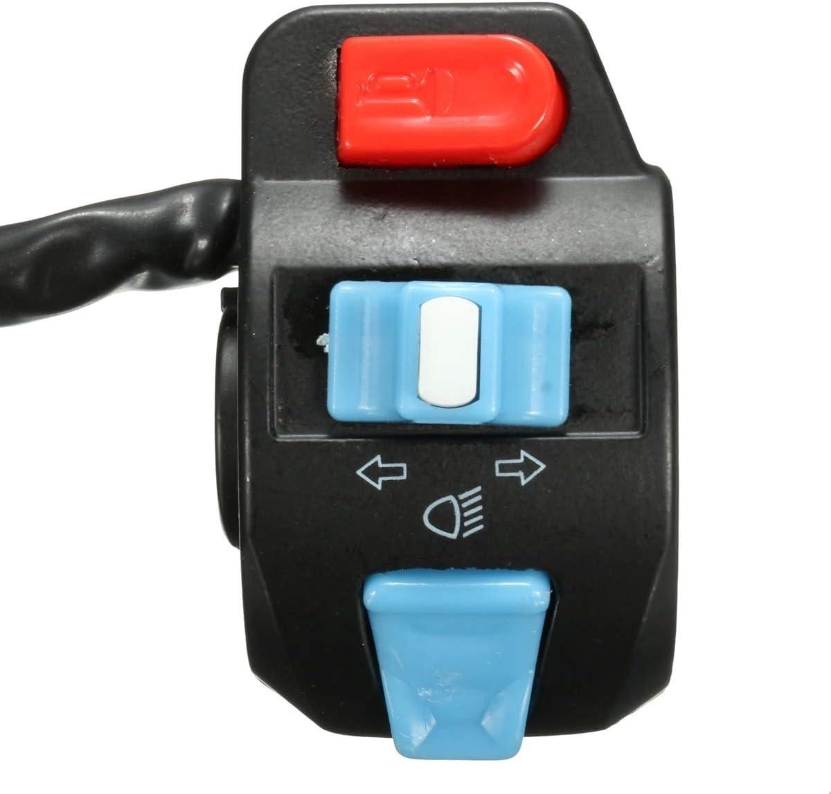 Moto Support de Guidon commutateur /à Bouton-Poussoir 7//8 Pouces Scooter Moto phares de Route//Croisement Corne Indicateur Interrupteur Guidon Switch on Off