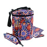 Knitting Bag Yarn Storage Tote Organizer with Inner Divider for Carrying Skeins, Knitting Needles and Crochet Hooks, Waterproof Coated Mother's Day Gift (Mandala)